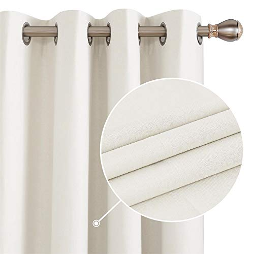Deconovo 100% Blackout Curtains 63 Inch Length Set of 2, Linen Textured Thermal Curtains, Bedroom Grommet Window Curtains, Waterproof Curtains for Bathroom(Cream, 52W x 63L Inch, 2 Panels)