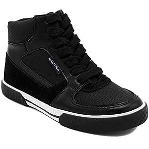 Nautica Kids Horizon Sneaker-Lace Up Fashion Shoe- Boot Like High Top-Horizon-Black-4