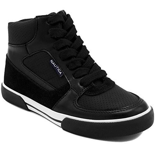 Nautica Kids Horizon Sneaker-Lace Up Fashion Shoe- Boot Like High Top-Horizon-Black-13