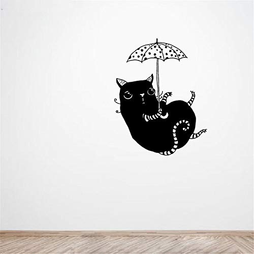 Vinly Art Decal Woorden Citaten Kat met Paraplu Illustratio Sticker Kwekerij Decor voor Kid Baby Jongens Meisjes Art Room Decoratie 23.4x23.4 inch