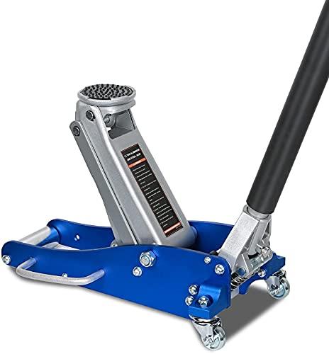 BILT HARD Aluminum and Steel Floor Jack, Low Profile Hydraulic Racing Floor Jack with Dual Piston Rapid Pump, 1.5 Ton Capacity (3,000 lb) , Blue
