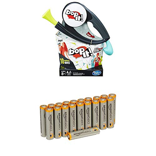 Hasbro Spiele B7428100 - Bop It!, Kinderspiel mit Amazon Basics Batterien