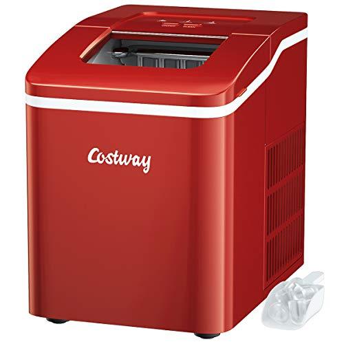 COSTWAY Eiswürfelmaschine Ice Maker, Eismaschine, Eiswürfelbereiter inkl. Eiswürfelschaufel / 9 Eiswürfel in 8 min / 12kg in 24 Std. / 1,6L Wassertank / 31x22x30 cm (Rot)