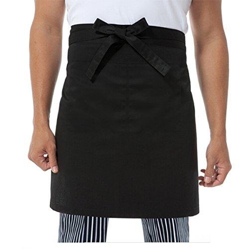 TINKSKY Professionelle Unisex Frauen Männer Küche Kellner Schürze Mit Doppel-Seitentaschen (Schwarz)