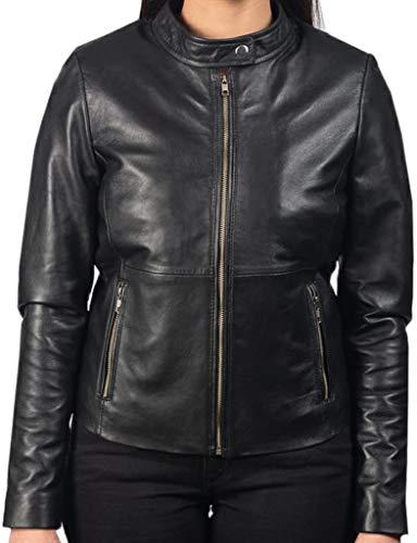 AQ07 Fashion Chaqueta de piel para mujer – Women Rave Black Leather Biker Jacket – auténtica piel de cordero negro Negro XXL