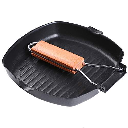YLDZSU Sartén para bistec, sartén para Desayuno, Mango de Madera Plegable, Fondo Plano, Olla Antiadherente, sartén para Carne para Cocina de inducción de Gas
