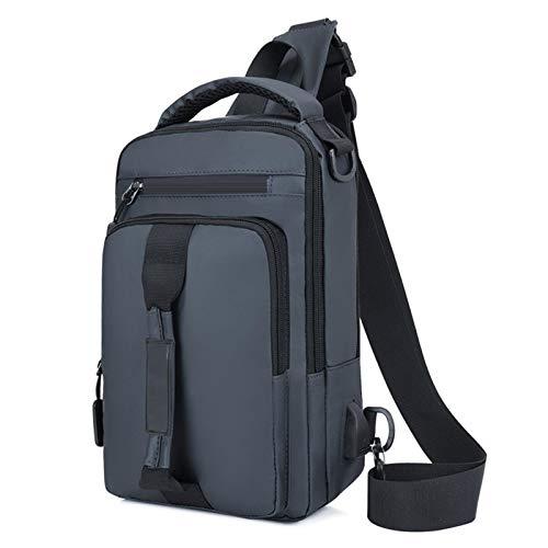 Nowbetter Mochila para hombre, bolsillo en el pecho, bolsillo en el pecho con interfaz USB, bolso multifunción adecuado para viajes, escuela, trabajo, color azul, gris oscuro (Gris) - UUBEKN8QA0