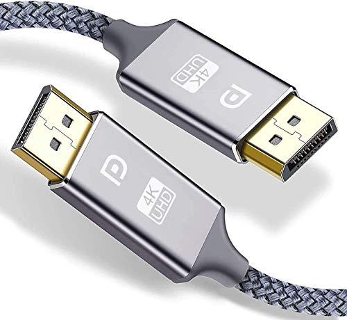 Snowkids 4K DisplayPort-kabel 2M (DP till DP-kabel), DisplayPort till DisplayPort-kabel (4K @60Hz,1440p@144Hz) Höghastighet nylonflätad DP-blystöd för laptop PC TV etc-spelskärmskabel (grå)