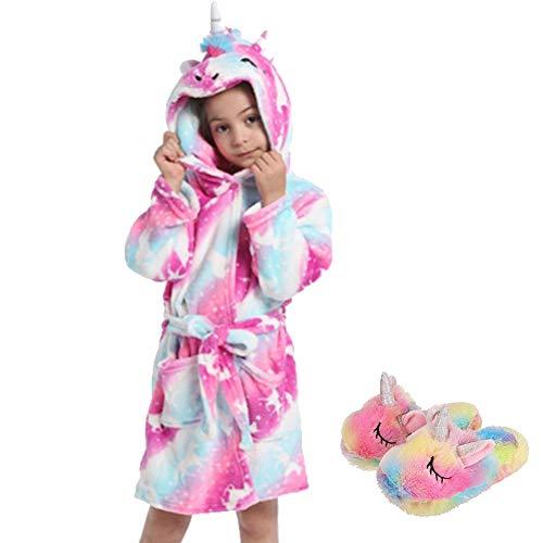 Ruiuzioong Kinder Sanft Einhorn Kapuzenbademantel und Einhornschuhe Mit Kapuze Bademantel Nachtwäsche Einhorn-Geschenke für Mädchen (Pink Unicorn, 6-7 T)