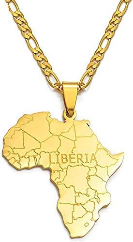 banbeitaotao Collar Mapa de África con Liberia Collares Pendientes Joyería de Color Dorado para Mujeres Hombres Mapas africanos Joyería Regalos Collar