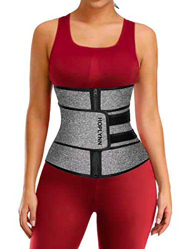 HOPLYNN Neoprene Sweat Waist Trainer Corset Trimmer Belt for Women Weight Loss, Waist Cincher Shaper Slimmer Grey Medium