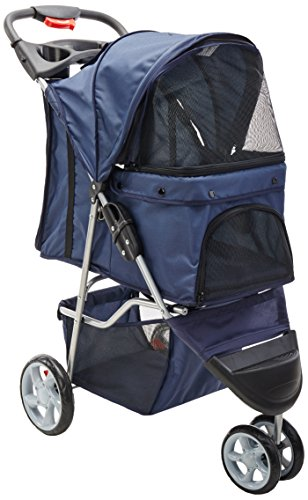 OxGord 3 Wheeler Elite Jogger Pet Stroller Cat/Dog Easy Walk Folding Travel Carrier, Navy Blue