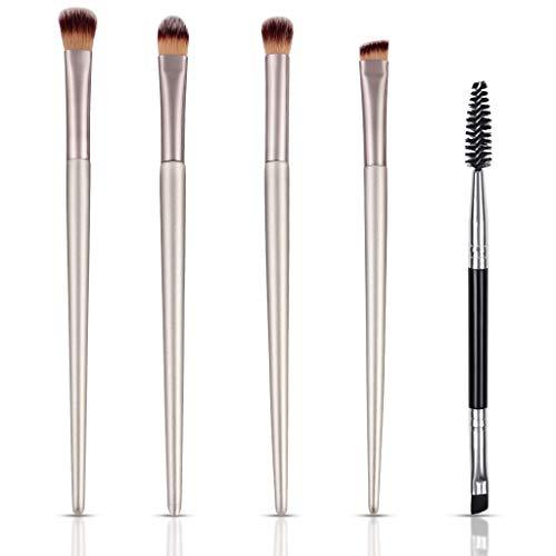 KELYDI Juego de brochas de maquillaje para ojos, 5 piezas, herramientas de belleza para sombra de ojos, cejas, pestañas mixtas, corrector de base