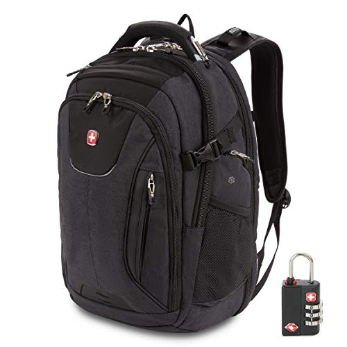 SWISSGEAR 5358 Ultimate Protection USB TSA Friendly ScanSmart Laptop Backpack and Cable Lock Bundle - Grey Heather