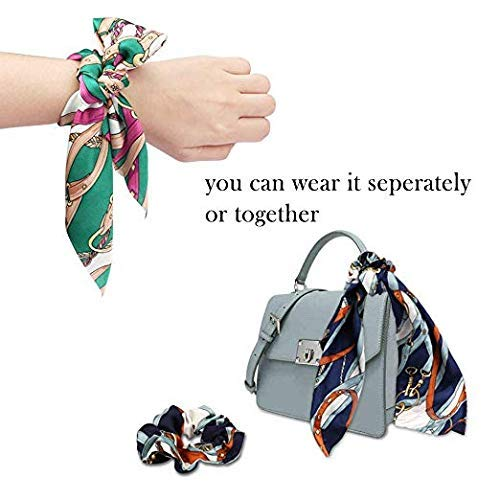 Beauty Wig World Hair Scarf Silk Scrunchies Ponytail - (4 Pack) Chain Detail Unique Hair Ties Designs to match Different Outfits – Satin Silk Hair Bands for Women Teen Tween Hair Scarves Tie 4