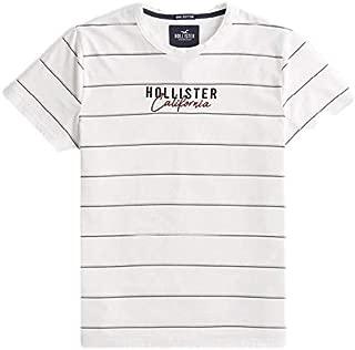 Hollister - Camiseta con Logo de Rayas para Hombre Blanco Blanco L ...