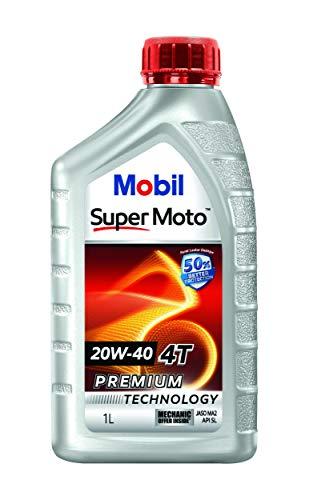 Mobil Super Moto 20W-40 API SL 4T Premium Technology Engine Oil for Bikes (1L)