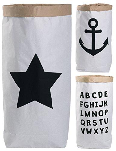 Lifestyle Lover Saco de Papel Paper Bag Redondo Papel Kraft Bolsa marrón Blanco