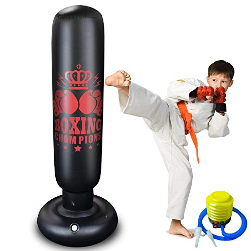 Punching Bag for Kids Women Inflatable Punching Bag,FYC Portable Indoor Home Child and Adult Weighted Boxing Punching Bag for Practicing Karate