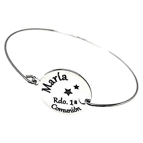 Pulsera plata Ley 925m rígida brazalete RECUERDO 1A COMUNIÓN disco 16 mm. nombre personalizado estrella