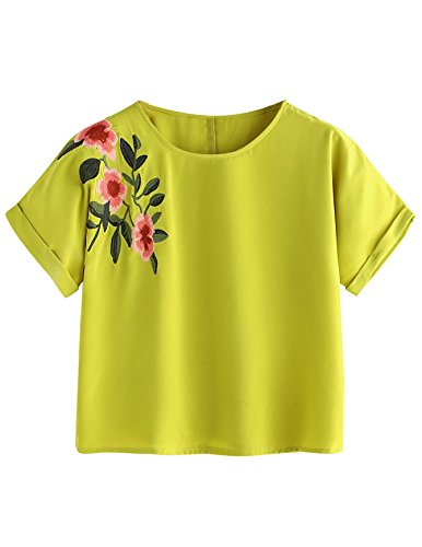 SweatyRocks Women's Casual Summer Tops Floral Embroidered Short Sleeve T Shirt Yellow Medium