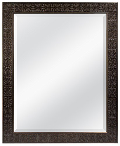 MCS 22x28 Inch Stamped Medallion Mirror, 28x34 Inch Overall Size, Bronze (47697)