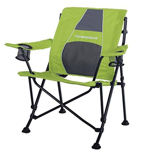 STRONGBACK Guru Folding Camp Chair with Lumbar Support, Black/Grey, Standard