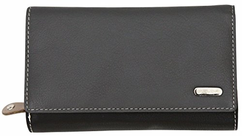 Felda RFID Blockierung, Leder Damen Geldbörse Portemonnaie Purse Geldbeutel Multicolor Grau Multi