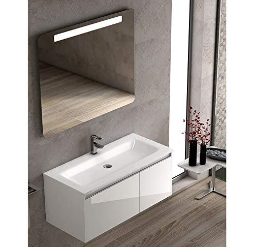 Becrisa Mueble de Baño con Lavabo Blanco Sky | Suspendido para Colgar | Lavabo Carga Mineral Incluido | Cierre amortiguado | (Blanco, 100 cm)