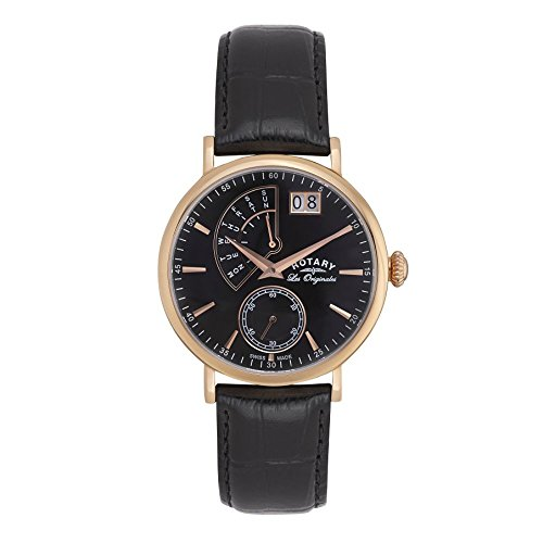 Rotary Watches Herren-Armbanduhr Quartz Complication Analog Quarz Leder GS90087/04