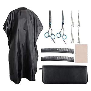 YuCool Juego de 11 tijeras de corte de pelo, kit profesional de acero inoxidable para el hogar, peluquero y peluquería, con peine de capa de salón, pinzas de dientes anchos, paño de limpieza y funda
