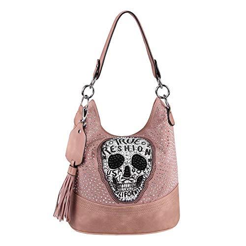 OBC Damen Totenkopf Skulls Tasche Handtasche Shopper Beuteltasche Schultertasche Umhängetache Henkeltasche Leder Optik Hobo Bag Strasssteine (Rosa 34x29x18 cm)