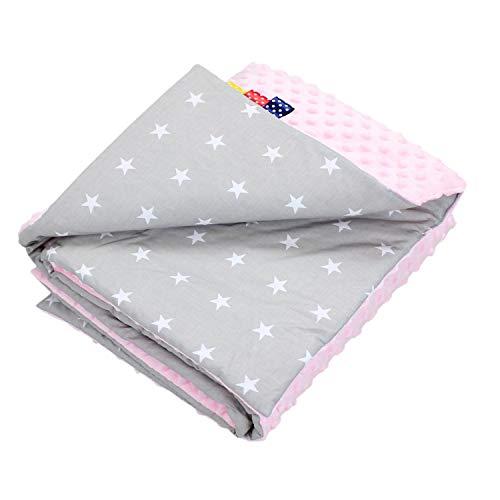 TupTam Colcha de Bebé de Doble Cara, Manta Felpa de Peluche, Estrellas Blanco/Rosa, 75 x 100 cm