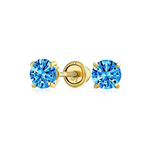 Kleine Zirkonia Hellblau Simulierten Blauer Topas CZ Runde Solitär Ohrstecker Echte 14K Gelb Gold Screwback