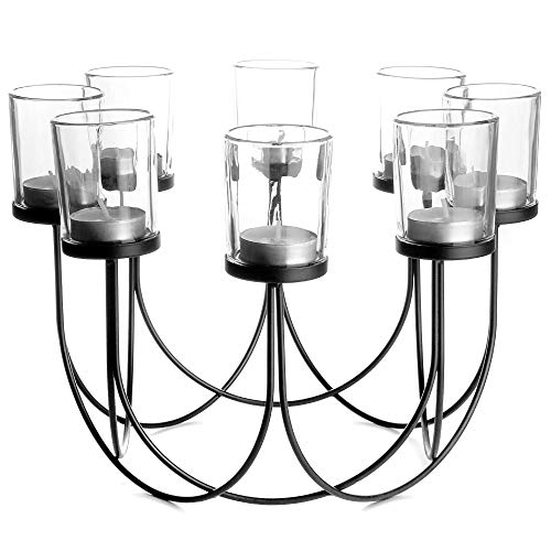 Glass Tea Light Holder | Candle Holder | Dining Table Decorations | Wedding Decor Centerpiece | Vintage Home Accessories | M&W Black