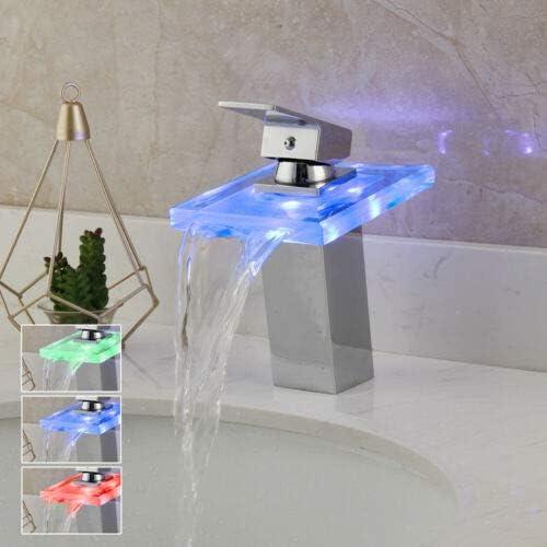 内祝い 売り込み Yanksmart Bathroom Chrome Vessel Sink Waterfall LED Basin Taps 3