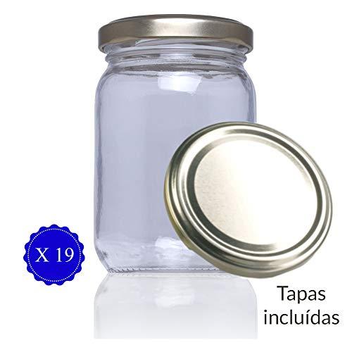 Tarros de Cristal con Tapa para conservas caseras legumbres, pastas, Botes Cristal con Tapa frascos con Tapa para chuches Stda 209 ml - (19 Unidades)