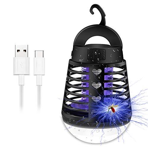Lámpara Anti Mosquitos, Lámpara Mosquitos Electrico, Bug Zapper con Luz UV, IP66 Camping Lámpara Mosquitos, Lámpara de Asesino del Mosquito al Aire Libre Portátil 2 en 1, USB Recargable