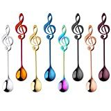 Coffee Spoons Tea Dessert Espresso Musical Note Stainless Steel 304 Long Handle Black Rose Gold Blue Purple Rainbow Silver Megic Red Set of 8