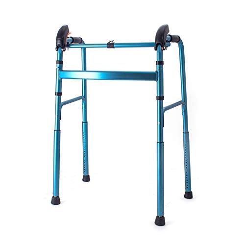 Teng Peng Ältere Rollator faltbar Hilfstreppensteigen Höhe automatische Einstellung 360-Grad-Fuß-Pad gedreht Werden kann, geeignet zum Wandern und Shopping Medizinischer Walker (Color : Blue)