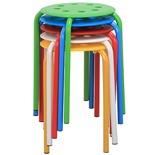 Yaheetech 17.3in Plastic Stack Stools Portable Stackable Bar Stools Colorful School Classroom Decoration Stools Chairs for Kids Children Students Round Stools Flexible Seating Pack of 5