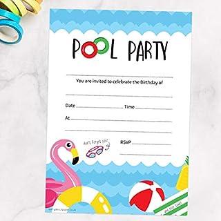 Fun Pool Party – Hojas de invitación y sobres – Paquete de 20
