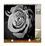 Bishilin Antischimmel Duschvorhang 180x200 Rose Blumen Lustiger Duschvorhang Polyester-Stoff