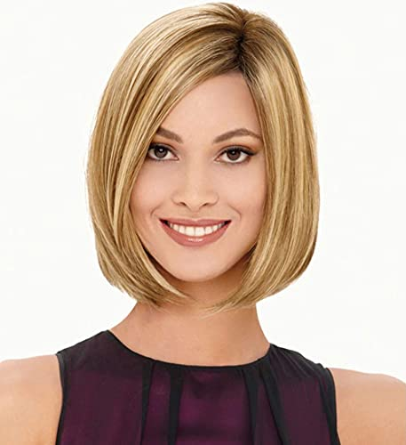 Short Ombre Blonde Bob Wig 12 inch Cute Straight Bob Wigs for Women Girls Mixed Blonde Highlight Synthetic Wig Pixie Cut Hair Replacement Wigs