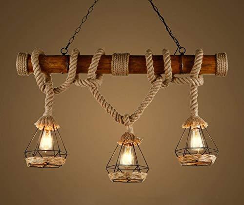 Rústico de cáñamo cuerda colgante luces de madera Downlights luces de techo birdcage Lámparas sombras