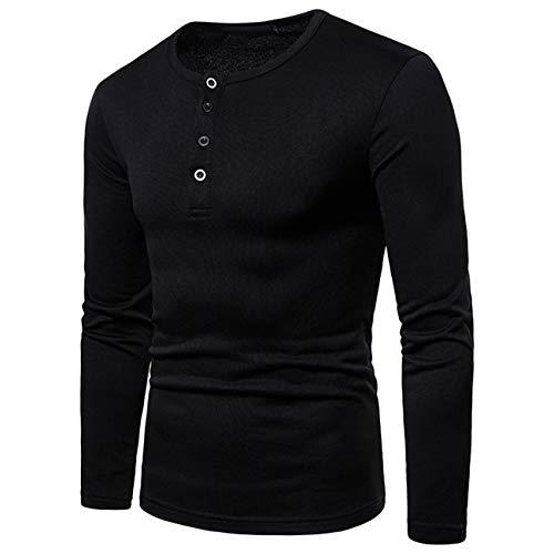 Herren Pure Farbe Lange Ärmel Freizeit und Mode Herbst und Winter Sweatershirt(S,Schwarz)