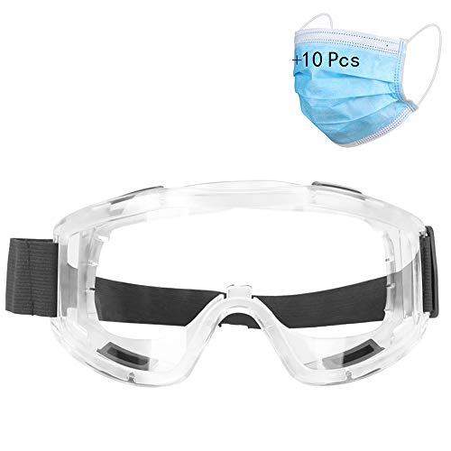 SEGIBUY veiligheidsbril, kristalheldere oogbescherming, stofdichte ademende laboratoriumstofbril, spuitbril