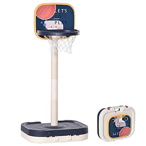 HOMCOM 2 en 1 Canasta de Baloncesto para Niños y Juego de Lanzamiento de Anillos Portátil con Aro Ajustable de 96-110 cm Accesorios Incluidos 58,5x56x122-137 cm Multicolor
