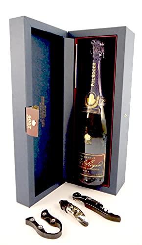 Pol Roger Cuvee Sir Winston Churchill Champagne 2009 en una caja de regalo original con tres accesorios de vino, 1 x 750ml