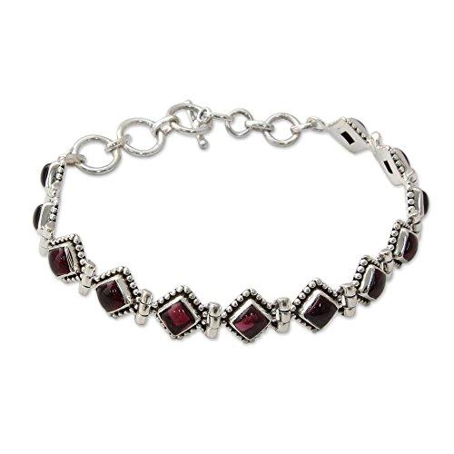 NOVICA .925 Sterling Silver and Garnet Tennis Bracelet, 7.75' - 8.5', Deep Red Diamonds'